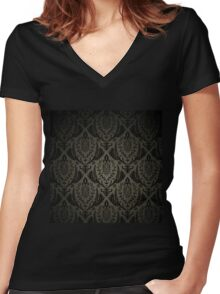 Black,brown,vintage,damasks,pattern,victorian,rustic,victorian Women's Fitted V-Neck T-Shirt