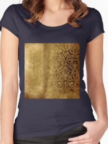 Rustic,gold,damasks,pattern,grunge,worn,authentic,vintage,damask,elegant,chic Women's Fitted Scoop T-Shirt