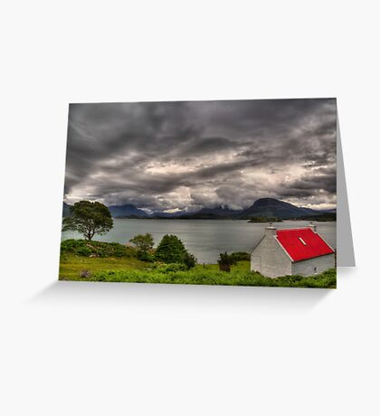 Red Roofed Cottage and Loch Shieldaig Greeting Card