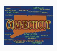 Connecticut State Pride Map Silhouette  Kids Tee