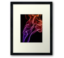 Smoke compositions in orange blue and pink Framed Print