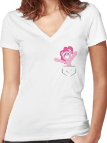 Pocket Pinkie Women's Fitted V-Neck T-Shirt