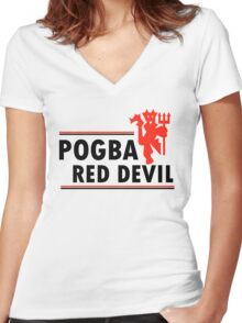 Paul Pogba - Red Devil Women's Fitted V-Neck T-Shirt