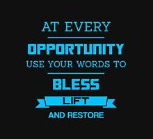 At Every Opportunity Use Your Words to Bless Lift and Restore - Sky Blue Print Men's Baseball ¾ T-Shirt