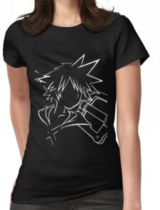 Sora/keyblade lineart white Womens Fitted T-Shirt