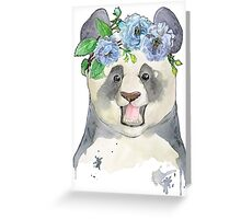 Panda bear in a flower band Greeting Card