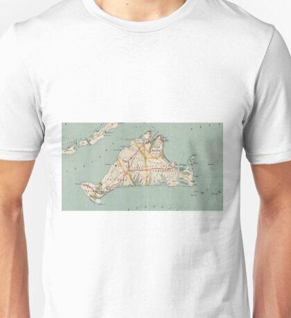 Vintage Map of Martha's Vineyard (1917) Unisex T-Shirt