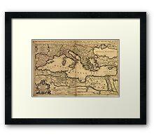 Vintage Map of The Mediterranean Sea (1685) Framed Print