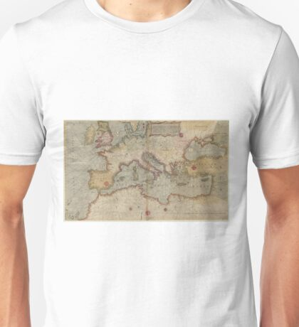 Vintage Map of Europe and The Mediterranean (1569) Unisex T-Shirt