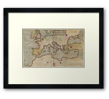 Vintage Map of Europe and The Mediterranean (1569) Framed Print