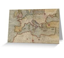 Vintage Map of Europe and The Mediterranean (1569) Greeting Card