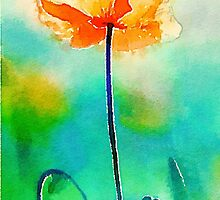 California Poppy Watercolor Fine Art by ChezLorraines