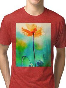 California Poppy Watercolor Fine Art Tri-blend T-Shirt