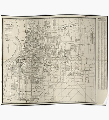 Vintage Map of Memphis Tennessee (1911) Poster