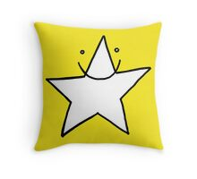 Lucky white funny star smiling with eyes open Throw Pillow