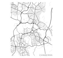 Canberra Map, Australia - Black and White Photographic Print