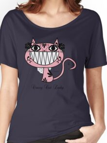 Cute Happy Pink Cartoon crazy Cat Lady  Women's Relaxed Fit T-Shirt