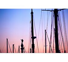 Christopher Columbus statue amid yacht masts Barcelona Catalonia Spain Photographic Print