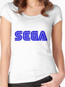 Blue Sega Logo Women's Fitted Scoop T-Shirt