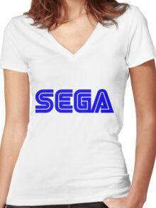 Blue Sega Logo Women's Fitted V-Neck T-Shirt