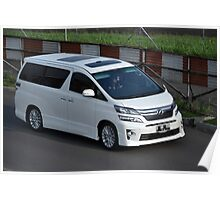 white colored toyota vellfire Poster
