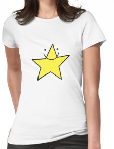 Lucky yellow funny star smiling with eyes open Womens Fitted T-Shirt