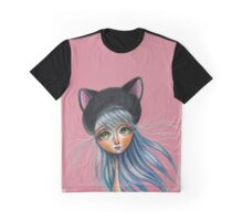 Kit Cat :: Girl in Her Kitty Hat Illustration Graphic T-Shirt