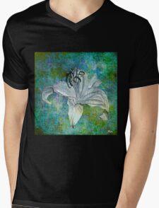 White Lily on Blue Mens V-Neck T-Shirt