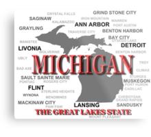 Michigan State Pride Map Silhouette  Metal Print