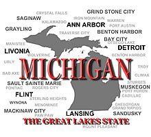 Michigan State Pride Map Silhouette  Photographic Print
