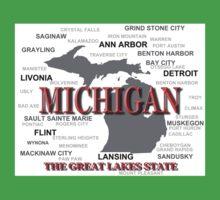 Michigan State Pride Map Silhouette  Kids Clothes