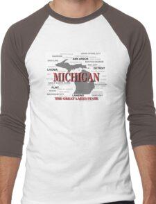 Michigan State Pride Map Silhouette  Men's Baseball ¾ T-Shirt