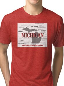 Michigan State Pride Map Silhouette  Tri-blend T-Shirt
