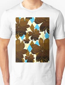 Magnolia Flowers Brown and Blue Unisex T-Shirt