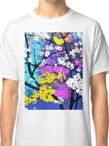 Spring Flowers of White and Yellow Birds Classic T-Shirt