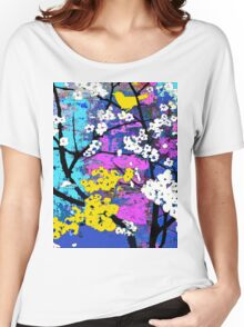 Spring Flowers of White and Yellow Birds Women's Relaxed Fit T-Shirt