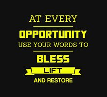 At Every Opportunity Use Your Words to Bless Lift and Restore - Yellow Print Men's Baseball ¾ T-Shirt