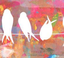 Technicolor Birds on Wire  Sticker