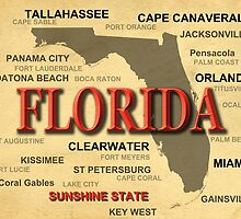 Florida State Pride Map Silhouette  by KWJphotoart