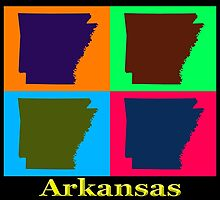 Colorful Arkansas State Pop Art Map by KWJphotoart
