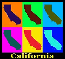 Colorful California State Pop Art Map by KWJphotoart