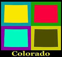 Colorful Colorado State Pop Art Map by KWJphotoart