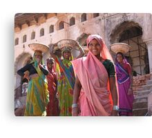 Indian women at work, Orchha, India  Canvas Print
