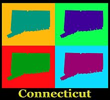 Colorful Connecticut State Pop Art Map by KWJphotoart