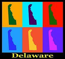 Colorful Delaware State Pop Art Map by KWJphotoart