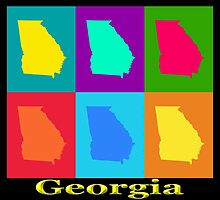Colorful Georgia State Pop Art Map by KWJphotoart