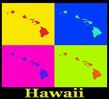 Colorful Hawaii State Pop Art Map by KWJphotoart