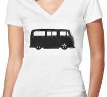 VW Bay window Bus in Black Women's Fitted V-Neck T-Shirt