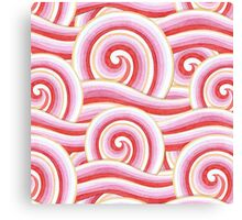 Red Auspicious Waves Canvas Print