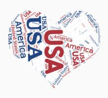 United States - Red White and Blue Heart Baby Tee